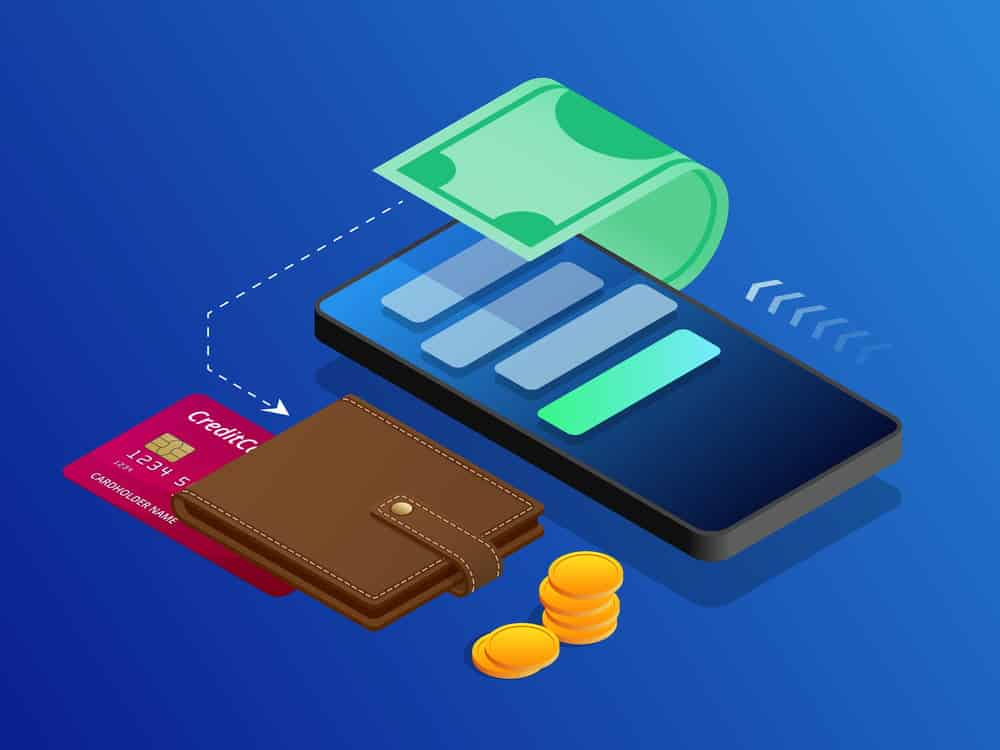 best budget app - animated image of smartphone, with dollar bill roled around it and a wallet with coins and a credit card