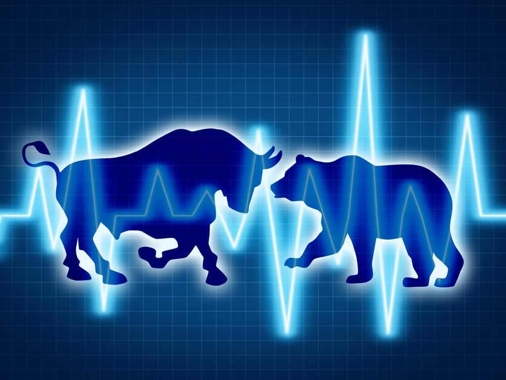 Average Stock Market Return-animation of a bull and bear going head to head with jagged blue lines across the page representing stock market
