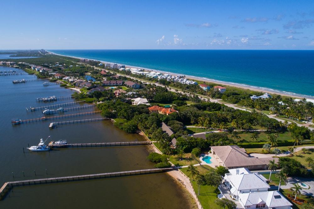 long-term airbnb - Aerial image of Hutchinson Island Florida USA